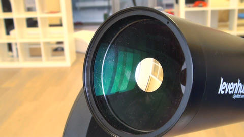 The lens of the telescope takes place in the searc Footage