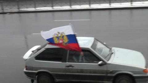 car with the flag of Russia Footage