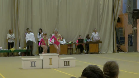 Awarding ceremony for girls, sports pedestal Footage