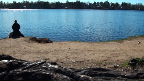 Fisherman on the lake Footage
