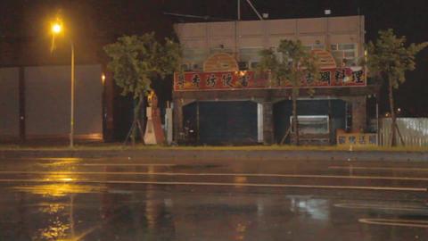 Typhoon blowing trees on street Footage