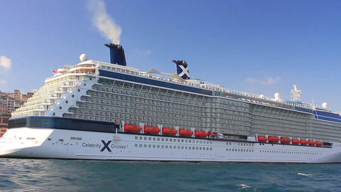 Luxury Cruise Ship Celebrity Cruises Reflection stock footage