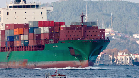 Cargo ship with full of containers sails into Bosp Footage