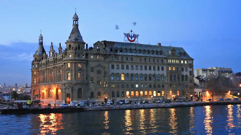 Haydarpasa Station Building at night Footage