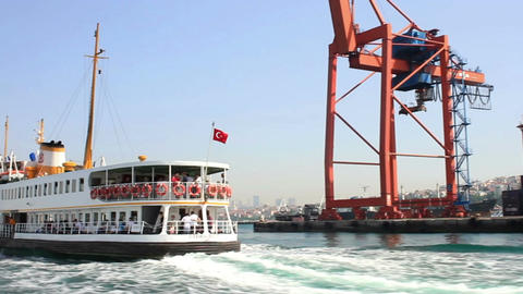 Istanbul ferry sails in front of Haydarpasa docks Footage