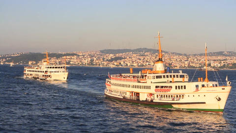 City ferryboats sails in to the harbor Footage