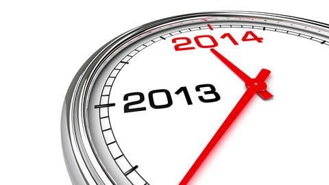 New Year 2014 Clock (with Matte) CG動画素材