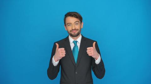Successful Businessman Thumbs Up stock footage