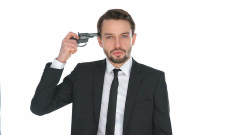 Suicidal businessman holding a gun to his head Footage