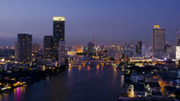 Bangkok Chao Phraya River Time Lapse at Dusk - HD Footage