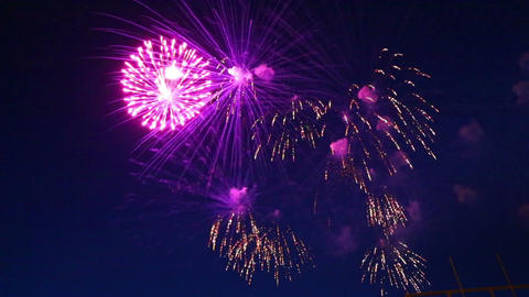 Beautiful Fireworks Show In The Night Sky stock footage