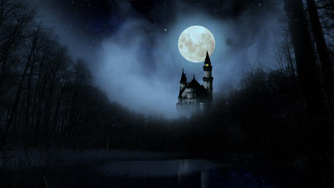 Scary dark castle in the woods Animation