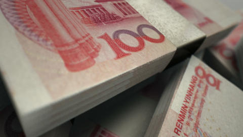 Chinese Yuan Notes Pan Over Animation
