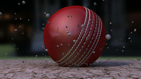 cricket ball hitting pitch closeup animation Animation