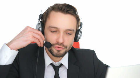 Call Centre Operator Answering A Query stock footage