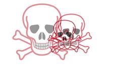 Pulsing Skull And Crossbones Symbol Stock Video Footage