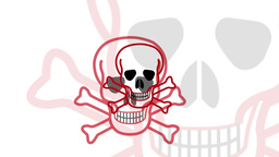 Pulsing Skull And Crossbones Symbol stock footage