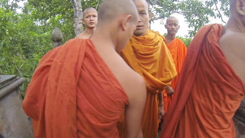 Group Of Cambodian Monks stock footage