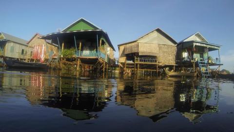 Floating village on tonle sap lake Footage