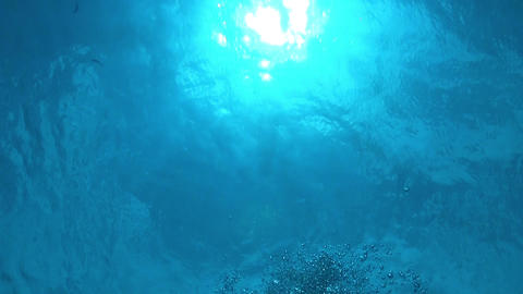 Air Bubbles in the Blue Water Footage