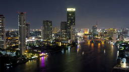 Bangkok Night Time Lapse View of Bridge - HD Footage