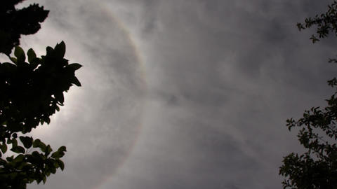 Gloomy Spooky Dark Sky With Sun Halo Footage
