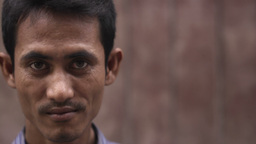 Portrait of real Asian people with emotions and feelings. Cambodian man looking  Footage