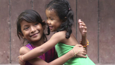 Portrait of real Asian people with emotions and feelings. Young Cambodian girls, Footage