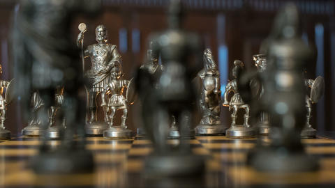 chess figures arc dolly DOV bluish backgroun 11352 Footage
