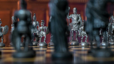 chess figures dolly DOV natural background 11356 Footage
