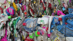 Stack of plastic waste - recycling center 1 Footage