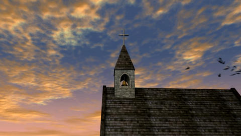 church and sky 1 ntsc Stock Video Footage
