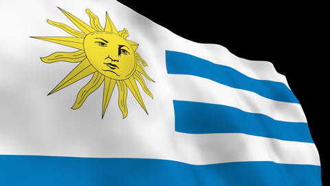 Flag B083 URY Uruguay Stock Video Footage