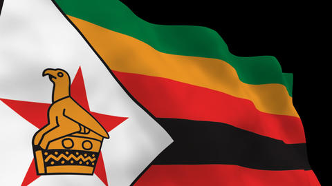 Flag B117 ZWE Zimbabwe Stock Video Footage