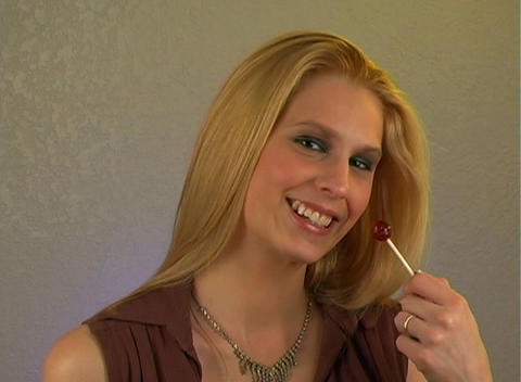 Sexy Blonde with Lolly Pop (2) Stock Video Footage