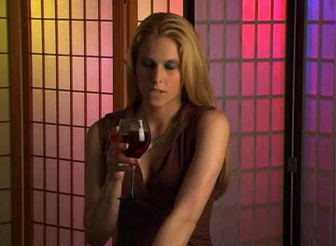 Beautiful Blonde with a Glass of Wine (3) Footage