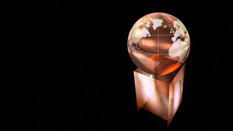 Rotating globe award on black background Animation