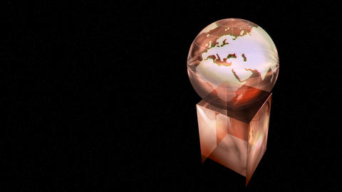 Rotating globe award on black background Stock Video Footage
