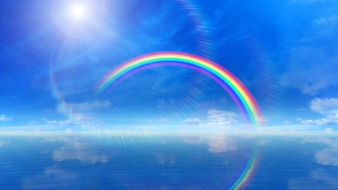 Rainbow A Sea Stock Video Footage