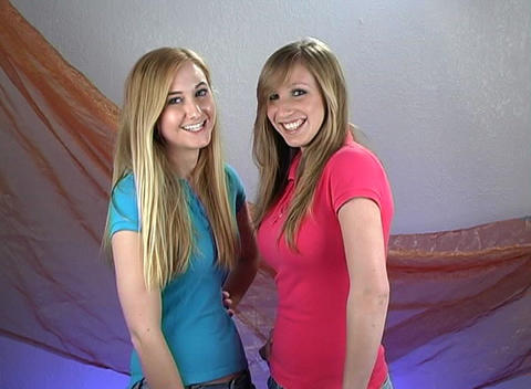 Two Beautiful Teenage Blondes (1) Stock Video Footage