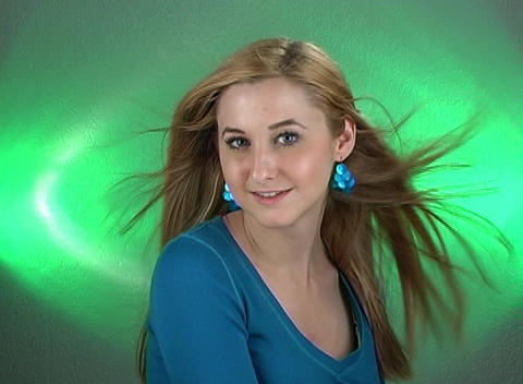 Beautiful Teenage Blonde Headshot Stock Video Footage
