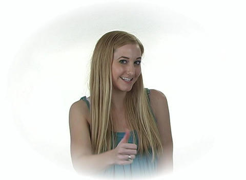 "Beautiful Teenage Blonde Gives ""Thumb Up"" Stock Video Footage"