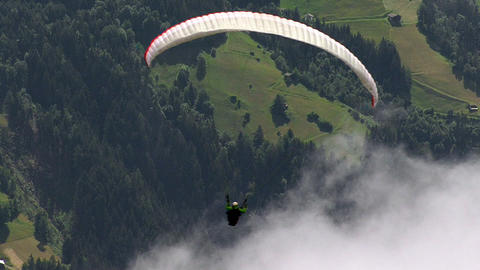 paraglider fly out of picture 01 Stock Video Footage
