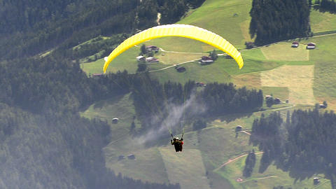 paraglider over austrian zillertal Stock Video Footage
