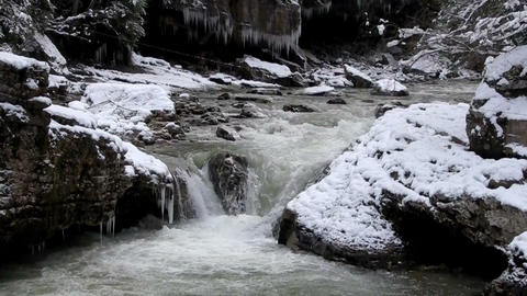 cold mountain river cascade Stock Video Footage