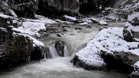 cold mountain river cascade Footage