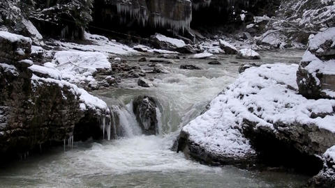 cold mountain river cascade Stock Video Footage