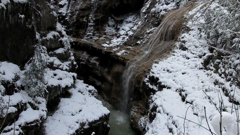 cold mountain waterfall Stock Video Footage