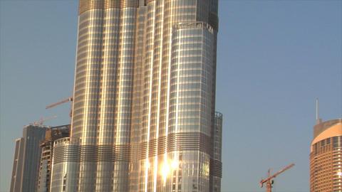 Burj Dubai slow zoom stars Stock Video Footage