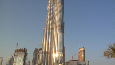 Burj Dubai slow zoom stars Stock Video Footage